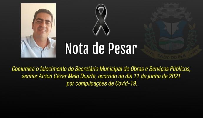 Nota de Pesar - Falecimento do Senhor Airton Cézar Melo Duarte